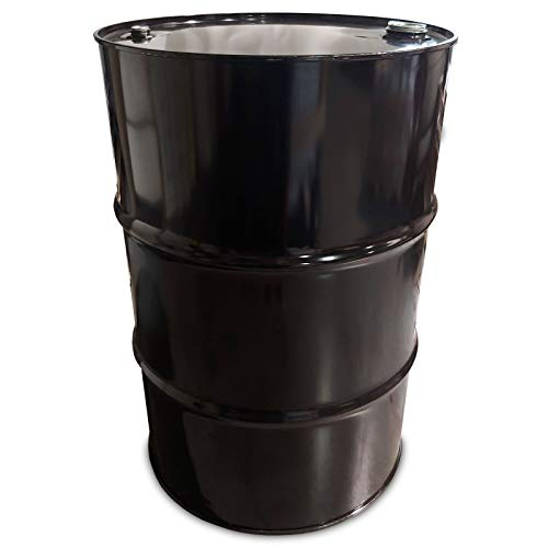 55 Gallon Steel Closed Head Drum Barrel, New, Black with Black or White Cover