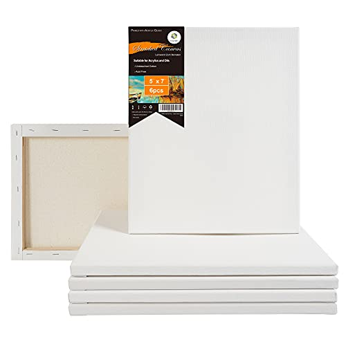 CONDA 5x7 inch Stretched Canvas for Painting, Pack of 6,...