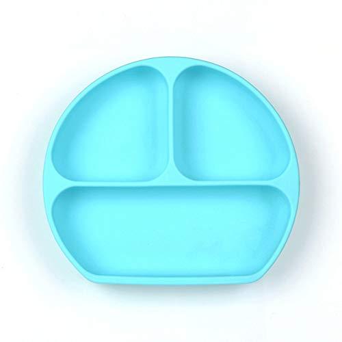 EmNarsissus Einteilige Kindersilikonplatte Babynahrungsergänzungsschale Silikon-Kinderteller mit Saugnäpfen
