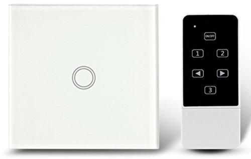 1de marcha de 1Vía pantalla táctil impermeable Interruptor de luz con mando a distancia Interruptor de pared para oficina, dormitorio, Salón, baño, etc., color blanco