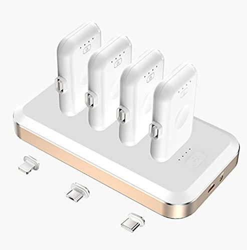 Mini Banco de Potencia magnética de 12000mAh, Banco de Potencia de Cargador rápido magnético con 4 Mini Banco magnético (USB + Ligning + Adaptador Tipo C) para iPhone Android