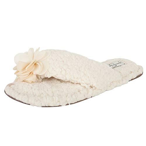 Jessica Simpson Women's Fluffy Pom Thong House Slide on Slippers with Memory Foam, Ivory Rosette, Medium