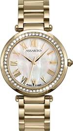 ASSARTO Watches ASD-4282Y-WHT Elegante Damenuhr mit Schweizer Uhrwerk, Saphirglas, Swarovski-Kristallen, vergoldete Uhr für Damen, Luxusuhr, Uhr mit Perlmuttzifferblatt