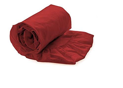 Heckett Lane Perkal Uni Hoeslaken Topper 200x200+12 cm - Aurora Red