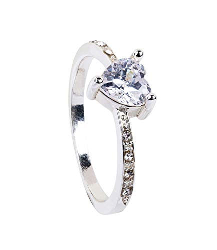 SIX 1 pc. of Filigree Silver Ring with Sparkling Rhinestones and a Heart Shaped Glittering Stone (793-039)