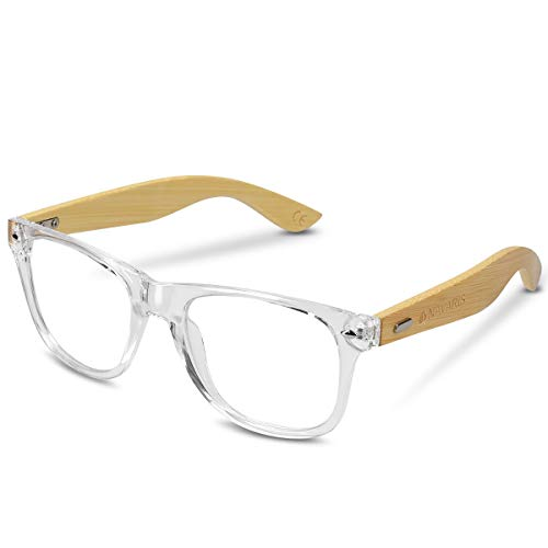 Navaris Retro Brille ohne Sehstärke - Damen Herren 50er Nerd Brille - Anti Blaulicht Computer Nerdbrille ohne Stärke mit Bambus Bügeln div. Farben, Transparent,