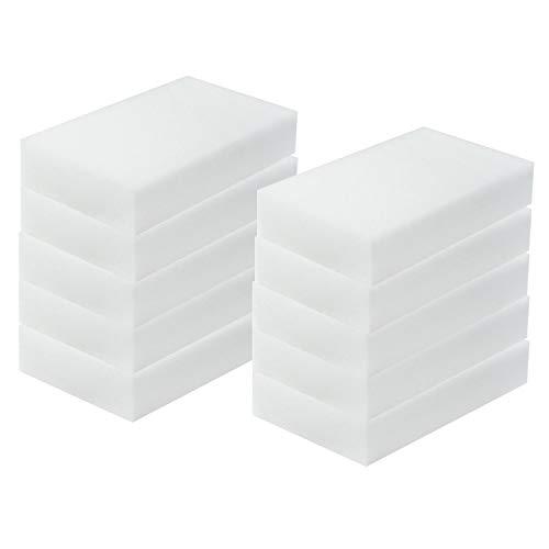 TRIXES 10 Stück Wunder-Reinigungsschwamm, Wunder-Schmutzradierer, Fleckenentferner-Pad, Eco, Weiß