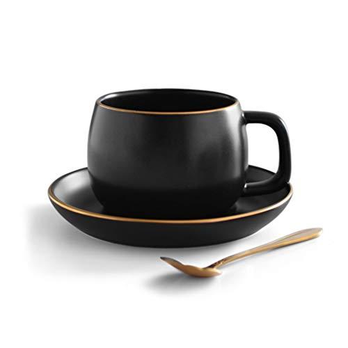 SHENHAI Kaffeetasse Keramik Kaffeetasse Schüssel Teetasse, schwarzes Gold