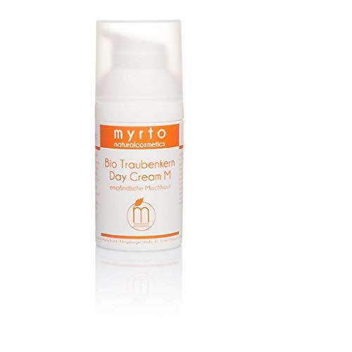myrto – Bio Traubenkern Tagescreme M - Gesichtscreme für empfindliche Mischhaut| gegen unreine Haut, Pickel + Akne | ohne Duftstoffe - ohne Alkohol - emulgatorfrei - 30ml