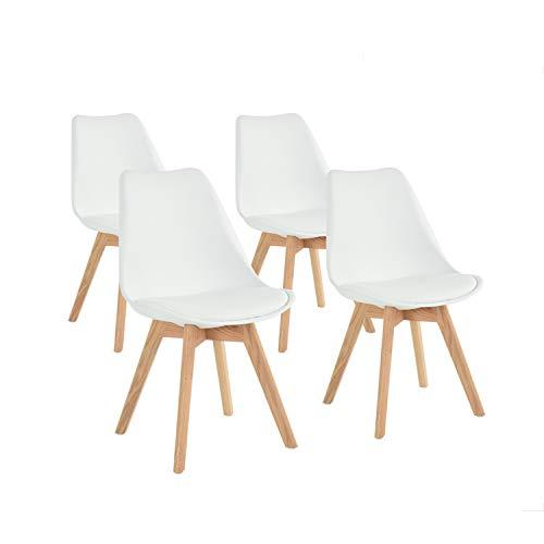 FURNITURE-R France – Juego de 4 sillas de Cocina, Comedor, diseño escandinavo, Asiento Acolchado,