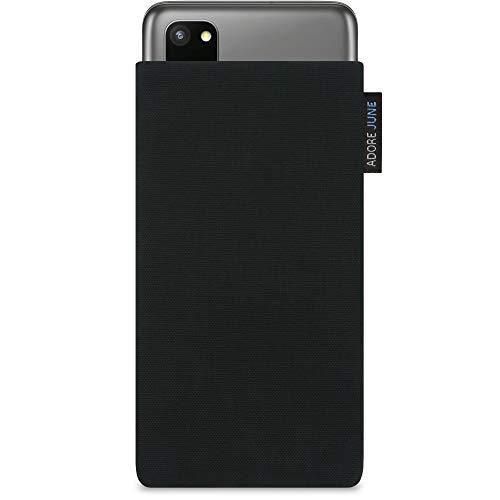 Adore June Classic Schwarz Tasche kompatibel mit Samsung Galaxy S20 Handytasche aus widerstandsfähigem Cordura Stoff mit Display Reinigungs-Effekt, Made in Europe