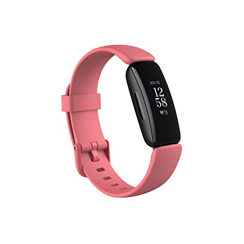 Fitbit Inspire 2 Health & Fitness Tracker with a Free 1-Year Premium Trial, 24/7 Heart Rate, Black/Rose, One Size (S & L Bands Included) (Renewed)