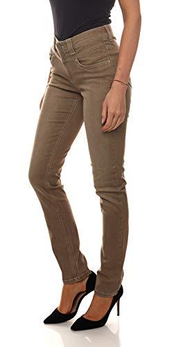 cmk Stretch-Jeans Enge Damen Röhren Shaping-Hose mit Used-Waschung Freizeit-Hose Sommer-Hose Taupe, Größe:W44/L32