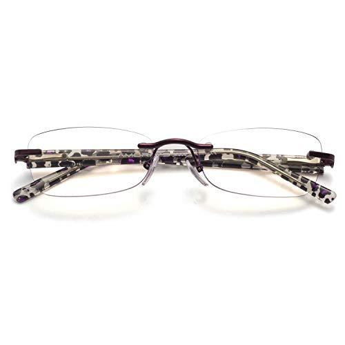 Amorays Gafas de lectura sin montura para mujer con bloqueo de luz azul, lentes de diamante y brazos de leopardo, color morado