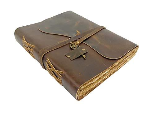 Antikes handgemachtes ledergebundenes Notizbuch mit altmodischem und authentischen Raukanten - Papier in einer Erinnerungsbox, Perfekt zum Schreiben, als Skizzenbuch, Malbuch oder Tagebuch - 28x22cm