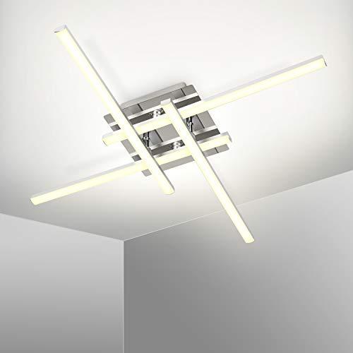 Kingwei Plafoniera LED Soffitto 25W, Lampadario Luce Bianca 5500K, Lampadari Moderni con 4 Bracci, IP21, Lampada Plafoniera da Soffitto per Soggiorno Camera da letto Sala da Pranzo