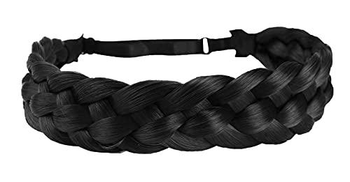 Coolcos Elastic Synthetic Chunky Hair Braid 5 Strands Braids Hair Headbands Plaited Braided Headband (Jet Black)