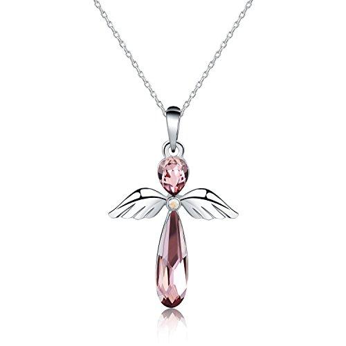 HERMOSO Wächter Engel Anhänger Halskette für Damen/Frauen, Hergestellt mit Swarovski Kristall, Schmuck Kette 16+2 Zoll