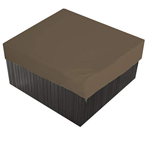 AMGJ Cubierta de Bañera de Hidromasaje Impermeable Cuadrada Cubierta de SPA Rectangular Funda para Jacuzzi con una Bolsa de Almacenamiento 7 Tamaños a Elegir,Marrón,210x210x30cm