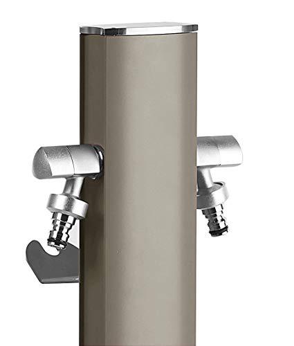 S&M Totem Gartenwassersäule mit Halterung für 2 Wasserhähne AQUAPOINT, grau