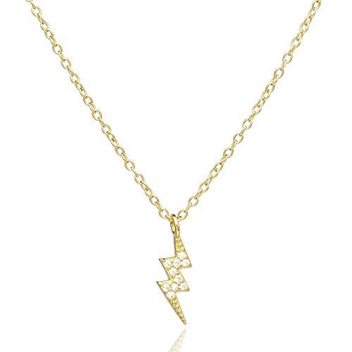 GLORY Colgante con Rayo de Plata de Ley 925 bañado en Oro 18K con Piedras Brillantes   Collar Fino Simple   Gargantilla Minimalista   Elegante   Color Dorado