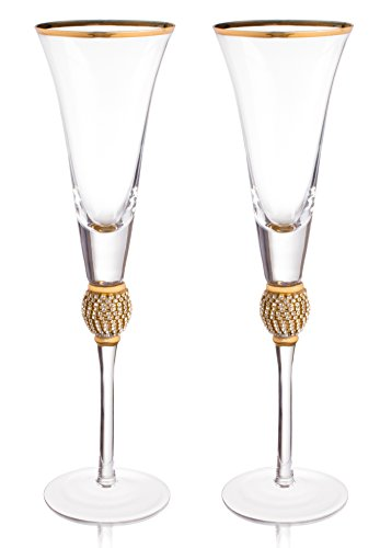 "Trinkware Wedding Champagne Flutes - Rhinestone""DIAMOND"" Studded Toasting Glasses With Gold Rim - Long Stem, 7oz, 11-inches Tall – Elegant Glassware And Stemware - Set of 2 For Bride And Groom"
