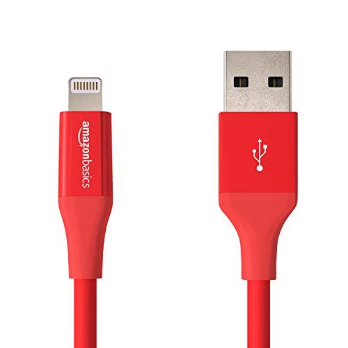 Amazon Basics - Cable de conector Lightning a USB A para iPhone y iPad - 10 cm - 1 unidad, Rojo