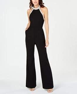 ADRIANNA PAPELL Womens Black Beaded Halter Sleeveless Halter Wide Leg Evening Jumpsuit Petites US Size: 14P