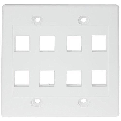 RiteAV - Keystone Wall Plate Double Gang 8-Port White (1 Piece Flush)