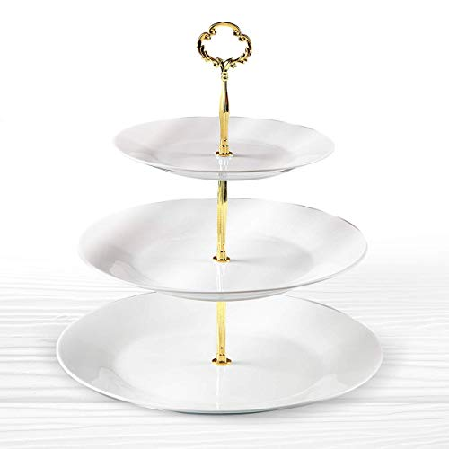 Klikel 3 Tiered Serving Stand - Gold Metal Rod With White Serving Trays - Round Platter Stand And Buffet Server - Kitchen Décor And Storage Solution