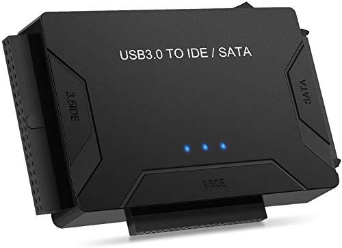 POSUGEAR USB 3.0 a SATA e IDE Adattatore, Convertitore da IDE/SATA a USB 3.0 per 2.5'' e 3.5'' IDE SATA Disco Rigido HDD SSD, Support 6TB, Incluso 12V 2 Adattatori, Cavo USB 3.0 e Cavo Sata di Alime