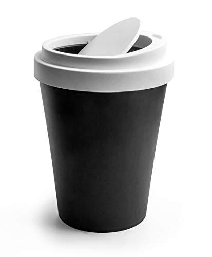 QUALY Original Papelera con Forma de Taza de café para Llevar. Tapa giratoria. Negro, Plástico, Altura: 21,5 cm, diámetro: 15,5 cm.