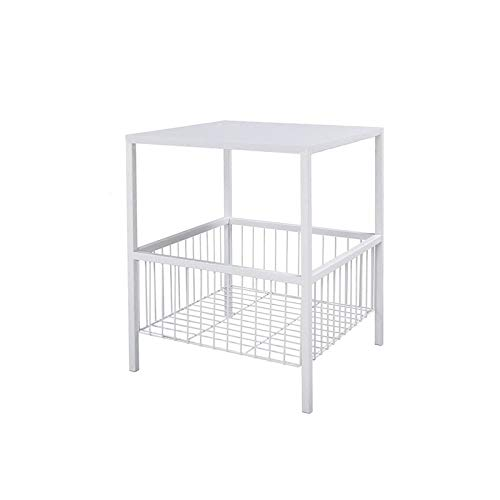 Mesitas de noche nórdicas, mesa auxiliar con cesta de almacenamiento, mesa auxiliar de hierro resistente, color blanco, 50 x 40 x 50 cm, horno duradero (tamaño: 50 x 40 x 50 cm, color: blanco)