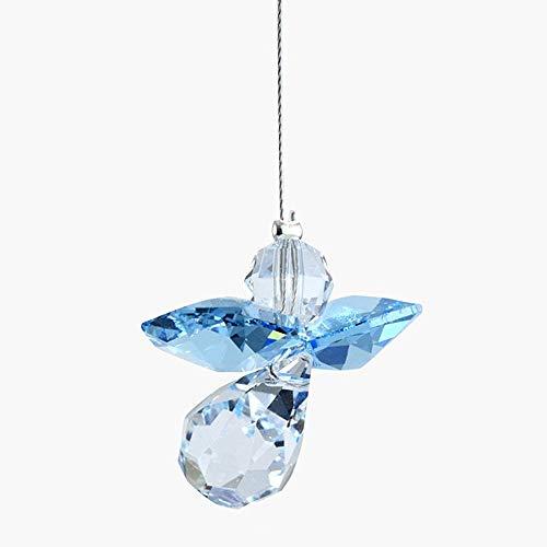 Hanging Crystal Guardian Angel Birthstone Suncatcher MARCH - AQUAMARINE - Embellished with Swarovski Crystals
