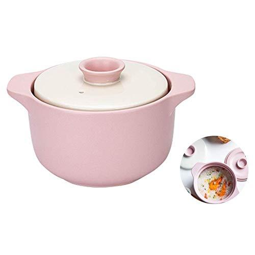 Plato para cazuela, cazuela de cerámica, Olla arrocera de Cocina de Alta Temperatura, Olla para estofado Saludable con Tapa Doble para Estufa de Gas (Color: Rosa)