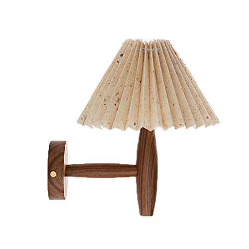 FEANG Nordic Nachtwandleuchte American Retro Pure Natural Burmese Teak Erstellen Doppel verdickte Lampshade Messing Plissee (Color : Broken Point)