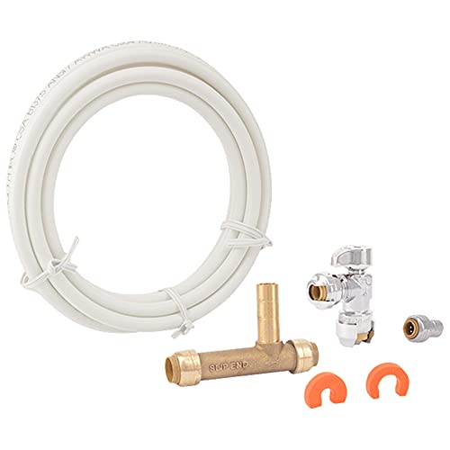 SharkBite 25087 Faucet Installation Kit, Angle Stop, Plumbing Fitting Quarter Turn, Water Valve Shut Off, Push-to-Connect, PEX, Copper, CPVC, PE-RT, Brass