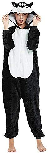 Mescara Unicornio pijama disfraz mono Cosplay chándal con capucha franela cartón adulto unisex Perro negro. L(altura:165-174 cm )