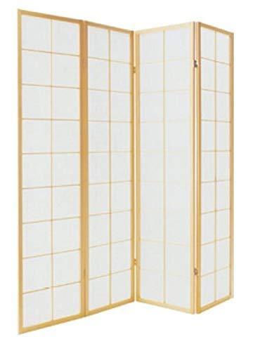 Fine Asianliving Japanische Paravent Raumteiler Shoji Japanischer Paravent Raumteiler Trennwand B180xH180cm 4-teilig Shoji Reispapier Naturell