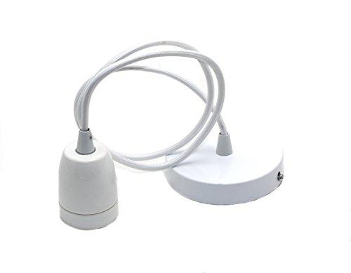Portalámpara de cerámica colgante, lámpara colgante de colores con cable ajustable 1 m para casquillo E27 Blanco