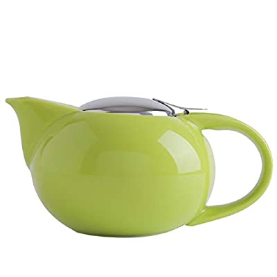 SANHECUN Ceramic infusion teapot with stainless infuser teapot Tea Gift (1, Green)