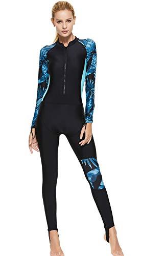 FEOYA Damen Ganzkörper-Badeanzug Hohe Kompression mit Reißverschluss Badebekleidung Schwarz/Blau M