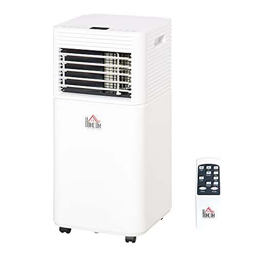 HOMCOM 10000 BTU Portable Mobile Air Conditioner for Cooling, Dehumidifying, and Ventilating with Remote Control, White