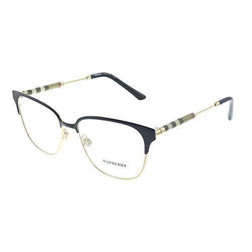 Burberry BE 1313Q 1237 Black Light Gold Metal Square Eyeglasses 53mm