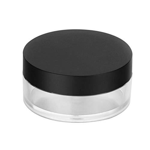 Lurrose 20G lege poederval plastic losse poeder container make-up case spons houder spiegel reizen kit (zwarte deksel)