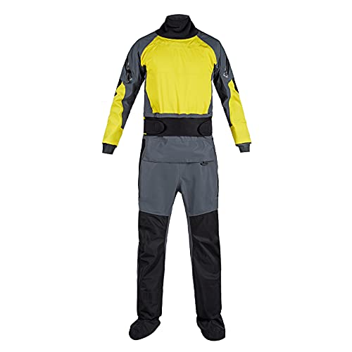 VFLAG Drysuits for Men, Cold Water Kayaking Equipment, Demanding Whitewater Paddling Ocean Padding,3 Layer Waterproof, Nylon Diving (Yellow, Medium)