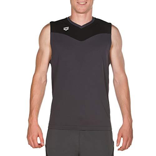 Arena M Sleeveless tee Camiseta Sin Mangas Hombre Gym, Asphalt-Black, L