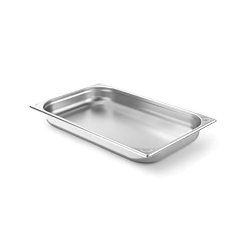 HENDI Gastronormbehälter, Temperaturbeständig von -40° bis 300°C, Heissluftöfen-Kühl- und Tiefkühlschränken-Chafing Dishes-Bain Marie, Stapelbar, 5,3L, GN 1/1, 530x325x(H)40mm, Edelstahl