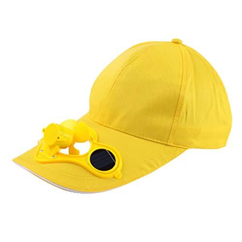 Nrpfell Gelber Solar Betriebener Lüfter Sommer Sport Hut Kappe Mit Solar Sonnen Lüfter Ventilator Radfahren, Das Kleine Klimager?te Klettert