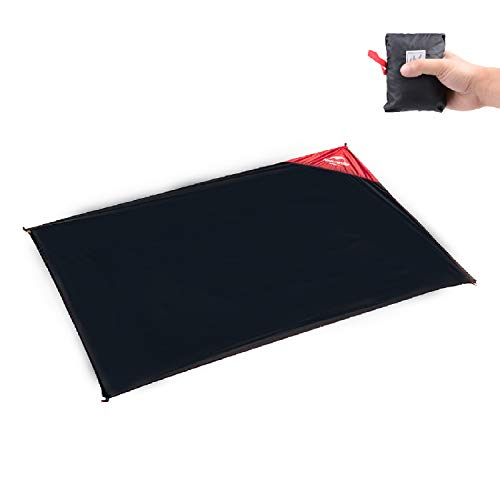 Azarxis Ultralight Mini Pocket Blanket Mat Boden Tuch Regen Fly Tarp Footprint Shelter Sonnenschirm Sand Free Waterproof Compact Portable für Reisen Picknick Camping Wandern (Schwarz - 3.28 x 4.76ft)